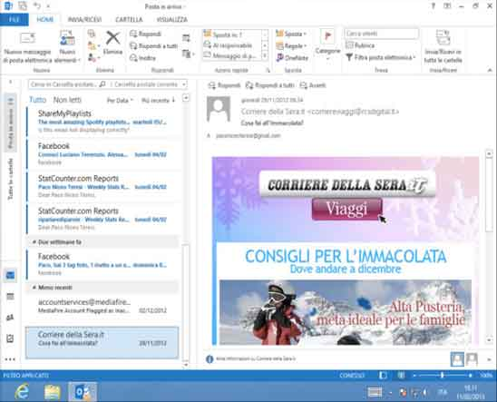 Alcuni screen shot del corso di outlook